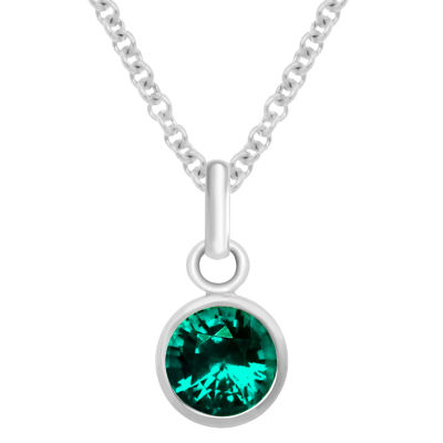 Itsy Bitsy December Birthstone Made With Swarovski Crystal Womens Blue Crystal Sterling Silver Pendant Necklace