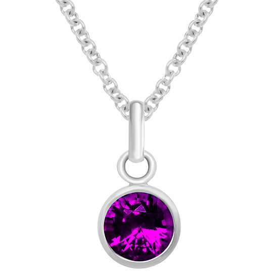 Itsy Bitsy February Birthstone Made With Swarovski Crystal Purple Crystal Sterling Silver 18 Inch Cable Pendant Necklace