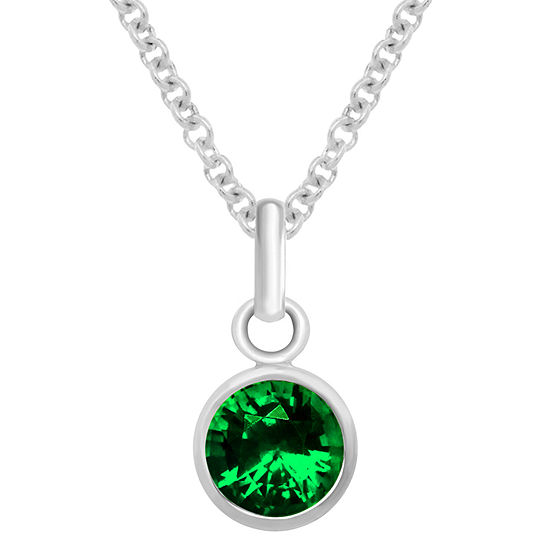 Itsy Bitsy May Birthstone Made With Swarovski Crystal Green Crystal Sterling Silver 18 Inch Cable Pendant Necklace