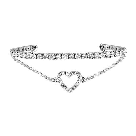 Sparkle Allure Duo Cuff Womens White Cubic Zirconia Cuff Bracelet Pure Silver Over Brass