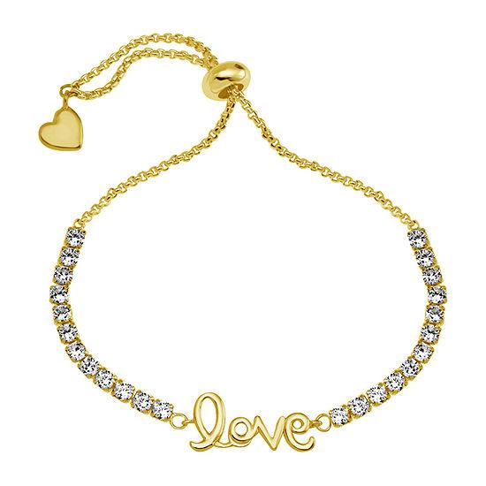 Sparkle Allure Love White Cubic Zirconia 14K Gold Over Brass 6 Inch Box Heart Bolo Bracelet