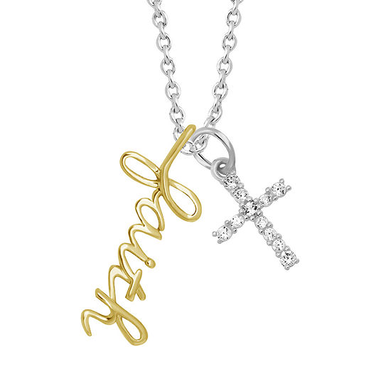 Sparkle Allure Womens White Cubic Zirconia Pure Silver Over Brass Cross Pendant Necklace