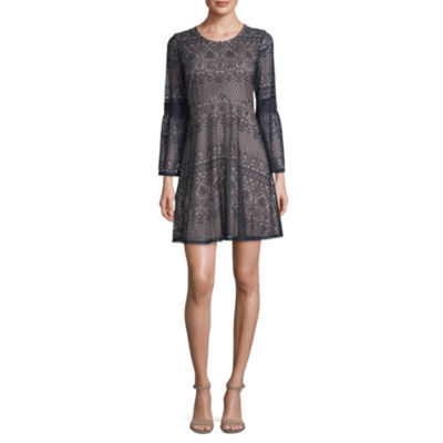 My Michelle Long Sleeve Fit & Flare Dress-Juniors