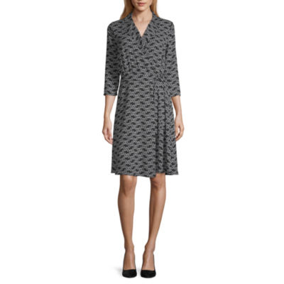 Worthington 3/4 Sleeve Floral Wrap Dress