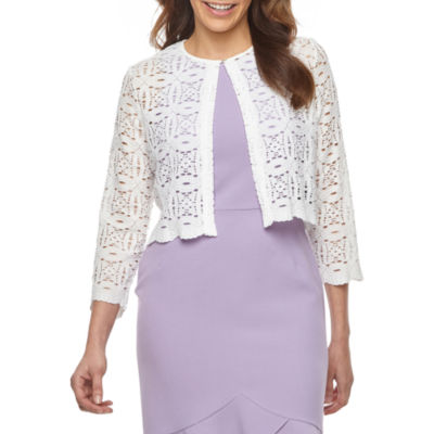 Ronni Nicole Womens Round Neck 3/4 Sleeve Shrug
