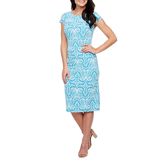 Ronni Nicole Short Sleeve Scroll Puff Print Sheath Dress