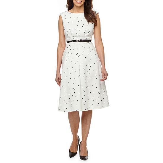 Liz Claiborne Sleeveless Polka Dot Midi Fit & Flare Dress