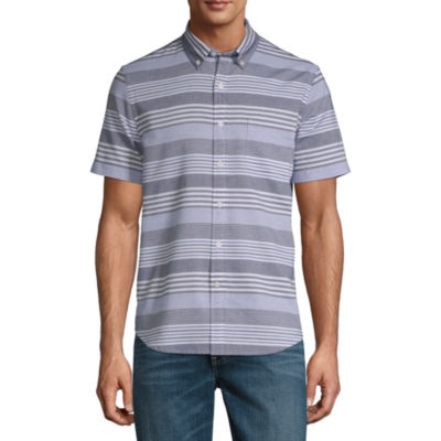 St. John's Bay Mens Short Sleeve Striped Button-Front Shirt