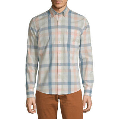Peyton & Parker Mens Long Sleeve Plaid Button-Front Shirt