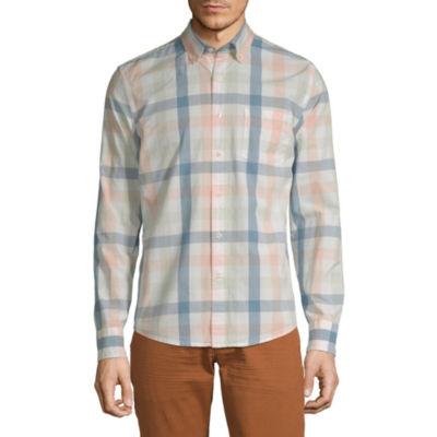 Peyton & Parker Mens Long Sleeve Plaid Button-Down Shirt