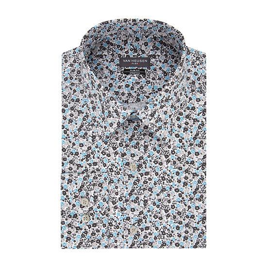 Van Heusen - Slim Mens Point Collar Long Sleeve Stretch Dress Shirt