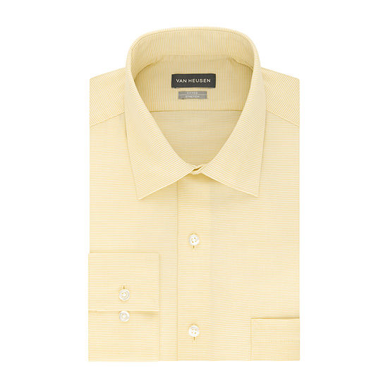 Van Heusen Lux Sateen Stretch Fitted Mens Spread Collar Long Sleeve Wrinkle Free Stretch Dress Shirt - Fitted