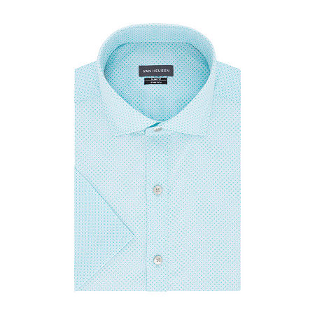 Van Heusen Mens Wrinkle Free Short Sleeve Stretch Dress Shirt - Big & Tall, 20 , Blue