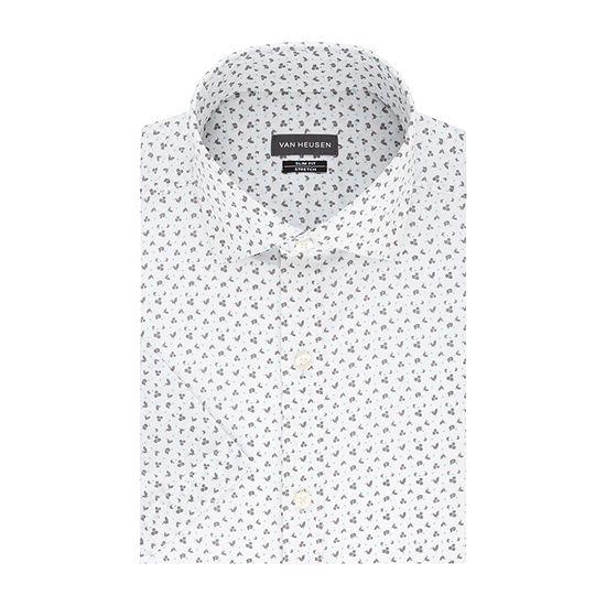 Van Heusen Mens Spread Collar Short Sleeve Wrinkle Free Stretch Dress Shirt