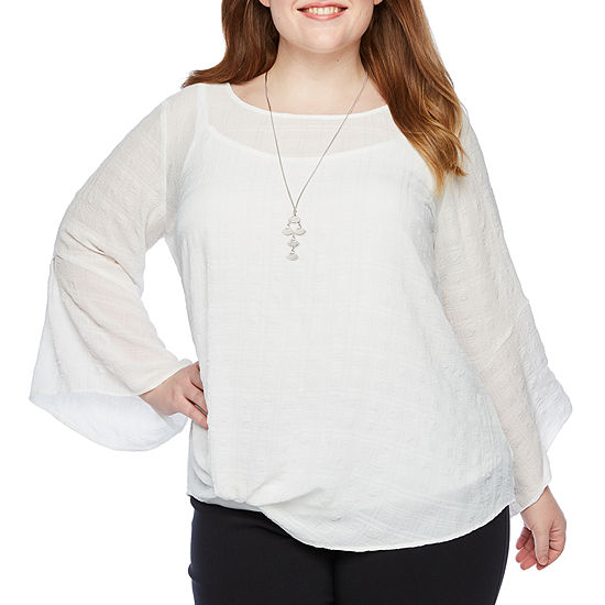 Alyx Bell Sleeve Twist Detail Blouse with Necklace – Plus