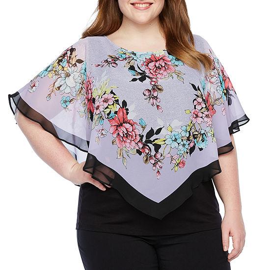 Alyx Womens Round Neck Short Sleeve Blouse-Plus
