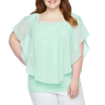 Alyx Womens Square Neck Short Sleeve Blouse-Plus