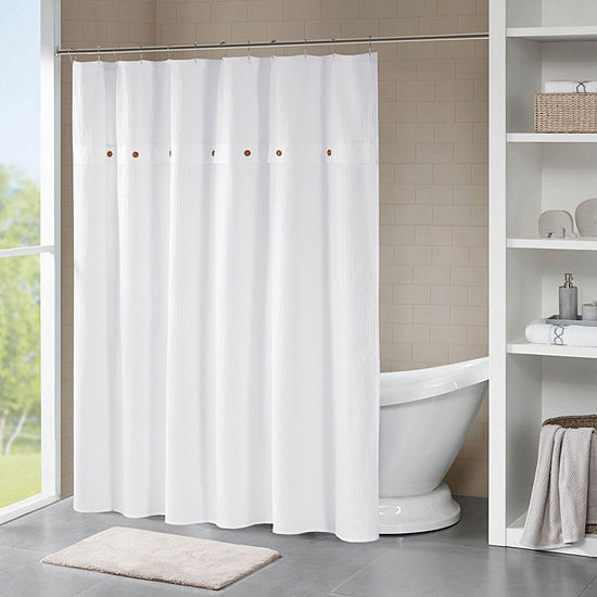 Madison Park  Rianon Finley Cotton Waffle Weave Textured Shower Curtain