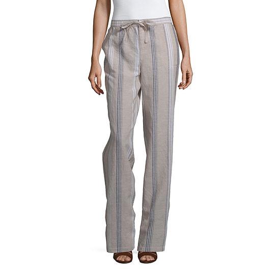 Liz Claiborne Wide Leg Linen Pant - Tall