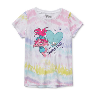 Trolls Little & Big Girls Round Neck Trolls Short Sleeve Graphic T-Shirt