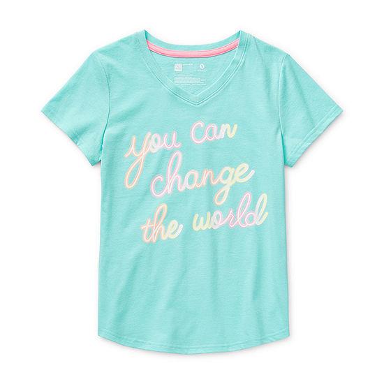 Xersion Little & Big Girls V Neck Short Sleeve Graphic T-Shirt