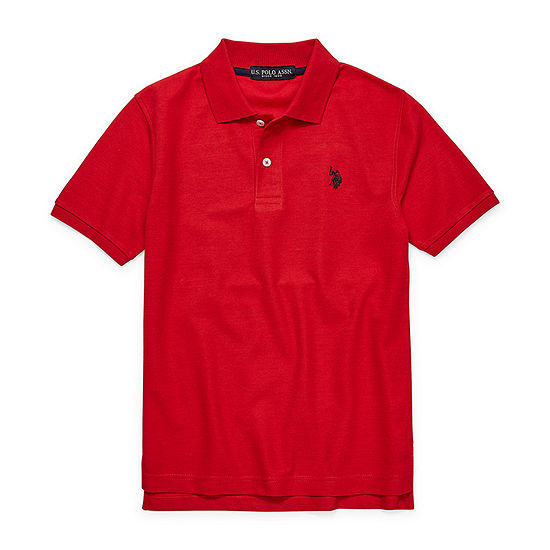 Us Polo Assn. Boys Spread Collar Short Sleeve Embroidered Polo Shirt - Big Kid
