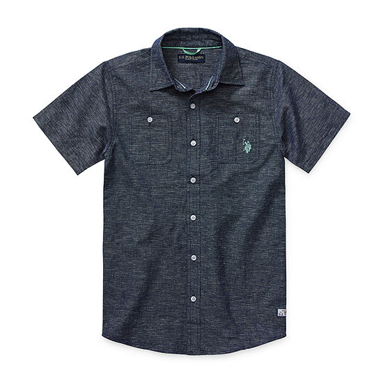 Us Polo Assn. Boys Short Sleeve Embroidered Button-Front Shirt Big Kid