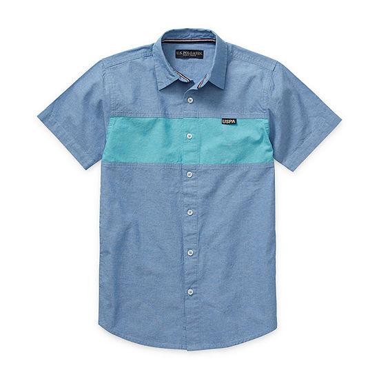 Us Polo Assn. Big Kid Boys Short Sleeve Button-Front Shirt