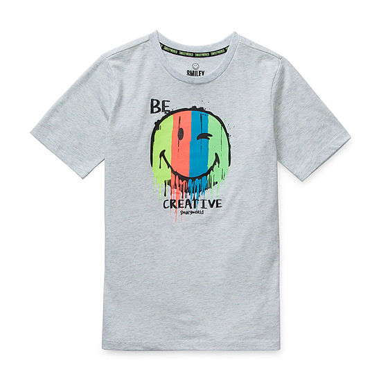 Smiley World Little & Big Boys Crew Neck Short Sleeve Graphic T-Shirt