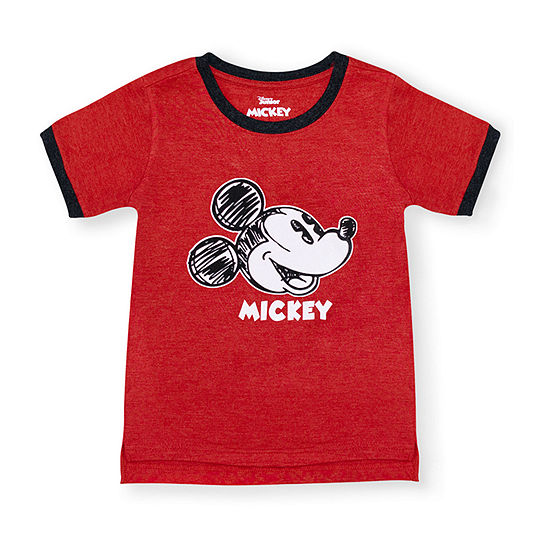 Disney Boys Round Neck Short Sleeve Mickey Mouse Graphic T-Shirt-Toddler