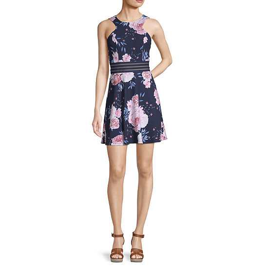 Speechless-Juniors Sleeveless Floral Fit & Flare Dress