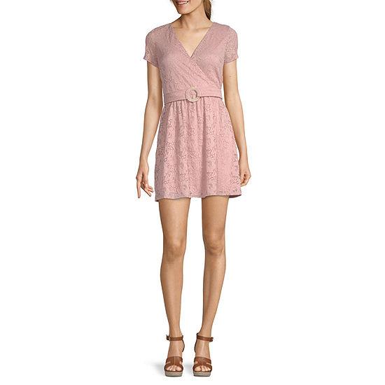 Speechless-Juniors Short Sleeve Wrap Dress