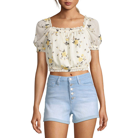 Society And Stitch Womens Square Neck Short Sleeve Crop Top-Juniors