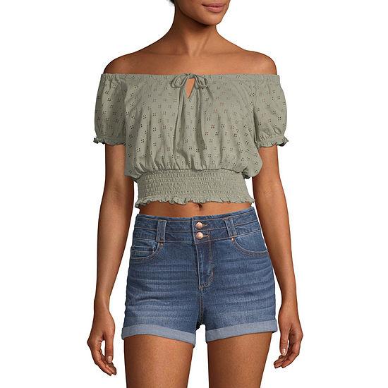 Arizona Womens Straight Neck Short Sleeve Blouse - Juniors