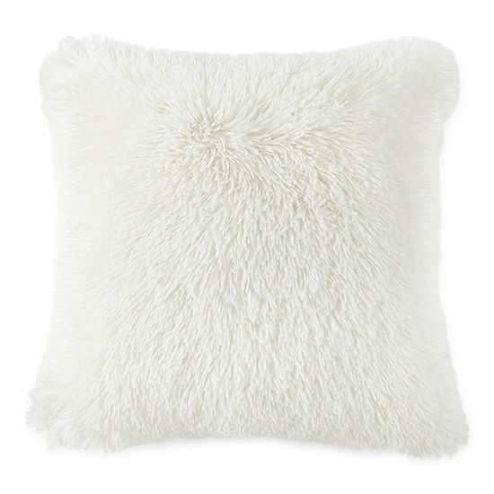 Home Expressions All Over Shag Fur Square Throw Pillow