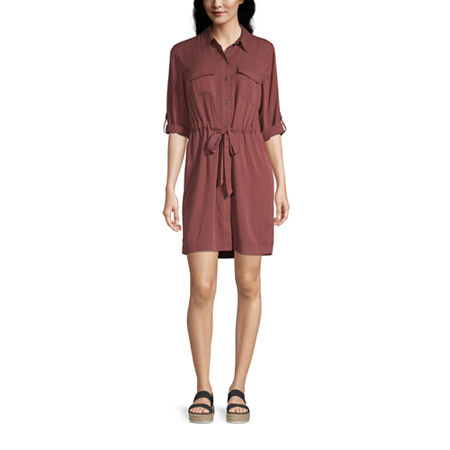 a.n.a. 3/4 Sleeve Shirt Dress, Small , Red