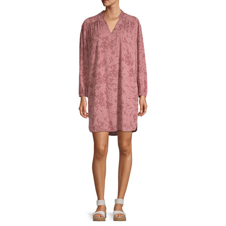 a.n.a Long Sleeve Shift Dress, Small , Pink