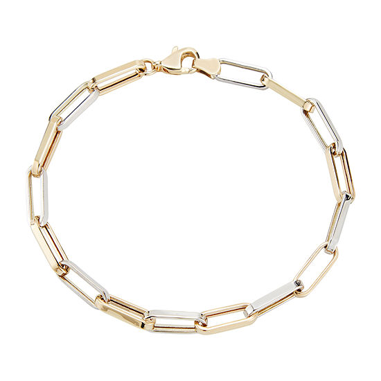 10K Two Tone Gold 7.5 Inch Hollow Stampato Link Bracelet
