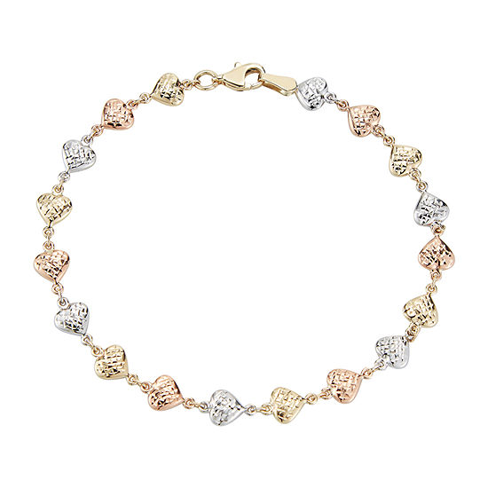 10K Tri-Color Gold 7.5 Inch Hollow Stampato Link Bracelet