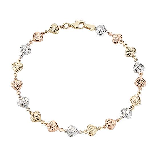 10K Tri-Color Gold 7.5 Inch Hollow Stampato Link Bracelet