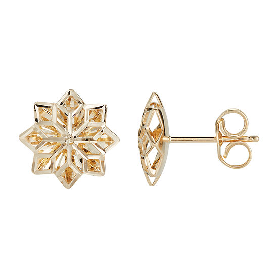 14K Gold 11.5mm Flower Stud Earrings