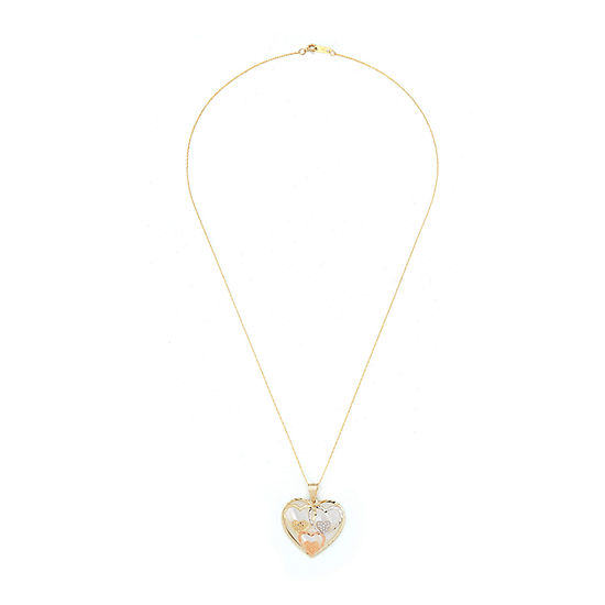 Womens White Mother Of Pearl 10K Gold Heart Pendant Necklace