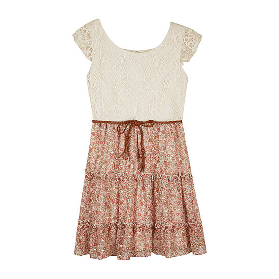 by&by girl Big Girls Short Sleeve Flutter Sleeve Sundress