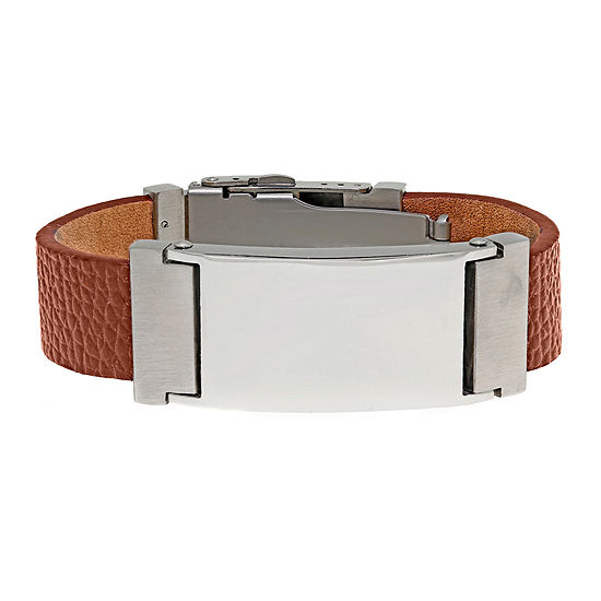Mens Stainless Steel and Brown Leather ID Bracelet