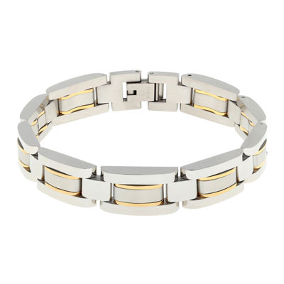 Mens Stainless Steel with Gold-Tone IP Link Bracelet
