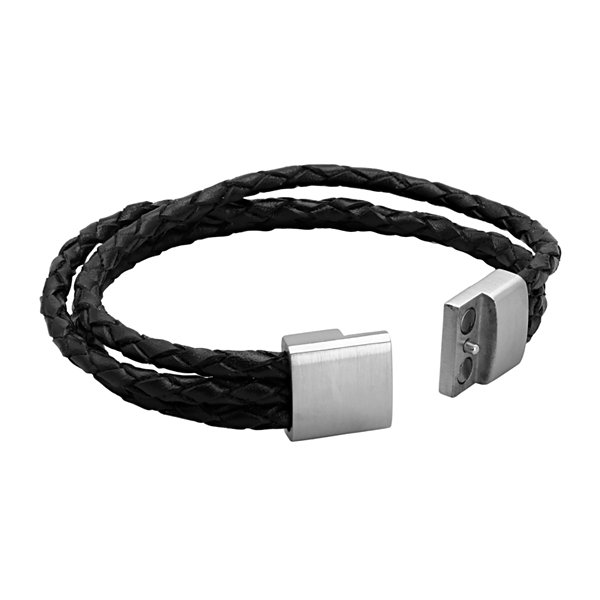 Mens Black Braided Leather and Stainless Steel Bracelet