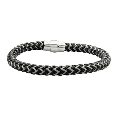 Mens Black IP Stainless Steel Braided Chain Bracelet
