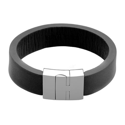 Mens Black Leather and Stainless Steel Strap Bracelet