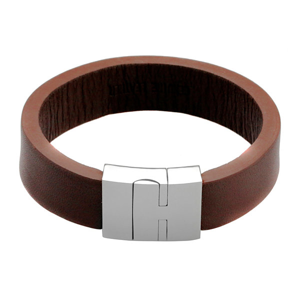 Mens Brown Leather and Stainless Steel Strap Bracelet