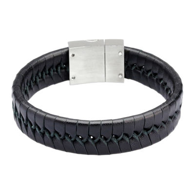 Mens Black Leather with Stainless Steel Bracelet